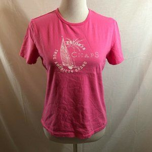 Chaps pink short sleeve T with white writing - Med